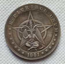 Hobo Nickel 1881 Morgan Dollar Devil Demon Satan Lucifer US Silver Casted Coin