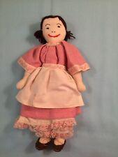 "Vtg Hand Made Girl Doll soft body-yarn hair late 19th century costume-dress 12"""