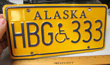 Alaska Handicap Metal License Plate HBG 333, gold style, expired in 2009, decor