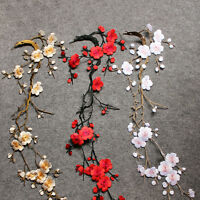 Embroidered Plum Blossom Flower Patch Iron/Sew on Applique Motif Cr  FTHNJ