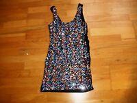 Ladies black sequin bodycon dress by RIBBON size 10 vgc