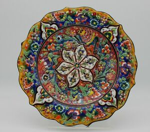 Colourful Vintage Greek Hand Painted Display Plate Made of Enamel & Tin