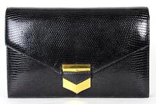 HERMES Vintage Black Shiny Lizard Skin PAN Envelope Clutch Bag