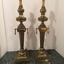 VTG STIFFEL LAMP PAIR VINTAGE BRASS ARCHITECTURAL TORCH FLAME HOLLYWOOD REGENCY