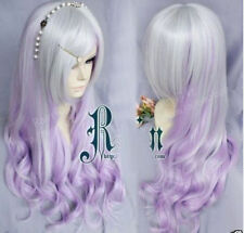 New Long Wavy Silver white + purple cosplay party hair Wig