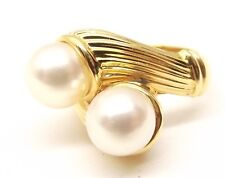 Vtg Mikimoto 18K Gold Akoya Cultured Pearl Ring Sz 6.75 8.4mm Heavy Signed