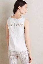 NWT SZ 0 $98 ANTHROPOLOGIE LACE MELODY TANK BY HD IN PARIS WHITE SHIRT TOP TEE