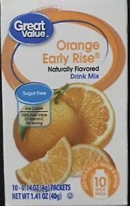 6 Boxes Of Great Value Early Rise Orange Sugar Free Low Calorie Drink Mix