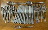 Oneida Decorators SEA BREEZE Stainless Forks Knives Spoons Teaspoons Lot of 31