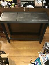 Black and Grey 3 Tile Top with Glass Shelf Sofa Table in Very Good Condition