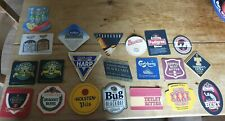 Job lot of 37 vintage beer mats, 21 different designs - Mitchell's of Lancaster