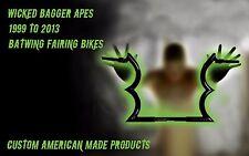 2010 Bagger Apes BLACK Harley Custom Bagger Touring Dresser Handlebars Batwing