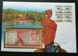 [SJ] Gambia Daily Life 1997 Bird Fauna FDC (banknote cover) *rare