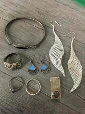 Sterling Silver Lot Mesh Earrings Purple Stones
