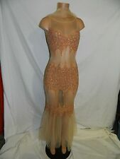UNIQUE Tulle Sexy Beaded Party Evening Dress Formal Sheer Formal Gown INV#0144