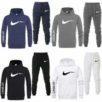 Men Pullover Trackies 2 Piece Hooded Top Jogging Bottoms GYM Tracksuit Sportwear