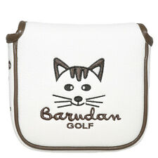 Square Mallet Putter Cover Headcover Magnetic Closure White Leather Cute 