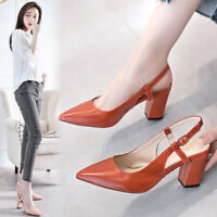 Lady Women's Slingback Pointed Toe Block High Heels Sandals Mid Heel Shoes Size