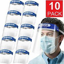 10-Pack Safety Full Face Shield Reusable FaceShield Clear Washable Anti-Splash