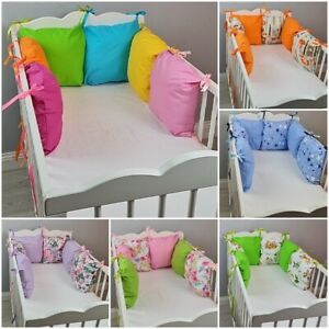 PILLOW BUMPER - 6 cushions for cot bed GREY PINK BLUE FOREST FLOWERS ANIMALS