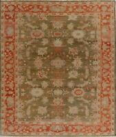 Vegetable Dye Antique Oriental Oushak Turkish Hand-Knotted Area Rug 9x10 Carpet