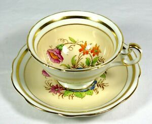 Vintage FOLEY BONE CHINA CUP + SAUCER Floral Pattern On Yellow w/Gold Banding