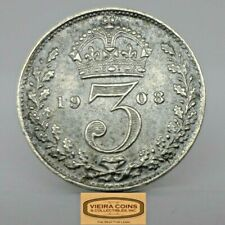 1908 Great Britain Silver 3 Pence, Free Shipping -  #C18966