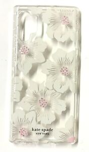 kate spade Clear Case for Samsung Galaxy Note 10+, Hollyhock Floral With Stones