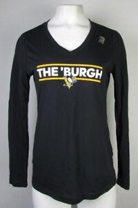 Pittsburgh Penguins adidas Women's Long Sleeve Black VNeck T-Shirt NHL S M L XL