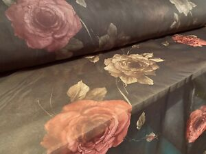 Printed Chiffon Dress Fabric, Per Metre - Rose Floral Print - Brown