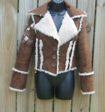 BEBE Brown SHEARLING Cropped Coat Size XS