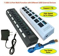7 Port USB 3.0 Hub On/Off Switches Powered Splitter AC Adapter Cable PC Laptop
