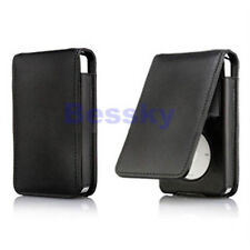 Unifarben Black Hülle Etuis Leder Flip Case Cover for iPod Classic 80 120GB