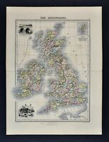 1877 Migeon Map - British Isles Great Britain England Scotland Ireland London UK