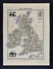 1877 Migeon Map - British Isles Great Britain England Scotland Ireland London UK