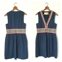 Lauren Moffatt Anthropologie Red White Navy Blue Embroidered Ethnic Dress 0