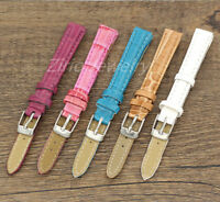 Women's 12mm Leather Watch Band Replacement Wristwatch Watch Strap Silver Buckle