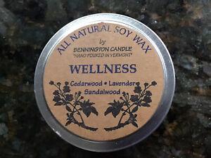 SOY CANDLE TRAVEL TIN, Wellness, Cedarwood,Lavender,Sandalwood, 25 Hr.burn,