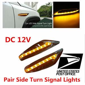 12V Universal Car Steering Light LED Turn Signal Fender Side Lights Yellow #