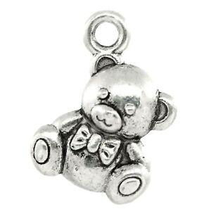 Teddy Bear Charms Tibetan Silver 3D Pendant 17mm Pack of 10