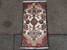 Old Traditional Hand Made Persian Rugs Oriental Wool Pink Rug 70x40cm