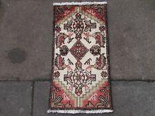 VECCHIO Fatto a Mano Tradizionale Tappeti Persiani Orientale Lana Tappeto Rosa 70x40cm