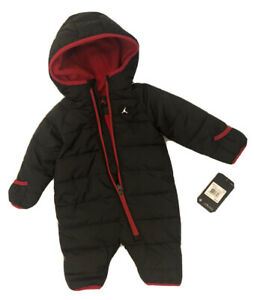 NEW JORDAN Newborn Baby BOYS Hooded Coverall Winter Warm Outfit 0-6 Months.Black