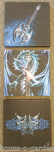 ANNE STOKES Powerchord Dragon Gothic Fantasy Set 3 Wall Canvas Home Decor