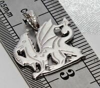 Sterling Silver Welsh Dragon Pendant - Solid 925 Silver