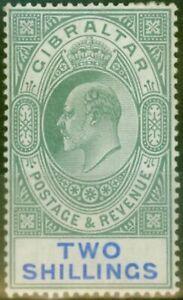 Gibraltar 1903 2s Green & Blue SG52 Fine & Fresh Lightly Mtd Mint (8)