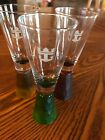"Vintage Royal Caribbean Shot Glasses Textured Base Mixed Colors 5.25"" Set of 3"