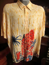 XL True Vtg 80s 100% RAYON Hawaiian PURITAN BAMBOO PALM TREE PRINT Shirt