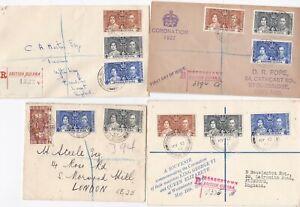 # 1937 x 4 KGVI CORONATION FDCs BRITISH GUIANA FOREIGN SECTION & BERBICE RAILWAY