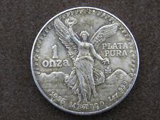 1985 1 oz Mexican Libertad Round Coin 1 Onza Plata Pura .999 Pure Silver Mexico